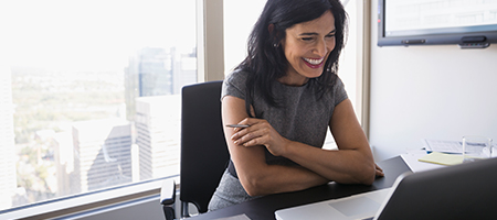 Business Woman Office Smiling on Computer